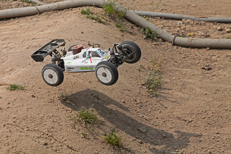 4wd: radio controlled buggy car model, internal combustion engine, in regional championship scale 18 off road in dirt track Il Pozzo on April 26, 2015 in Riolo Terme, RA, Italy