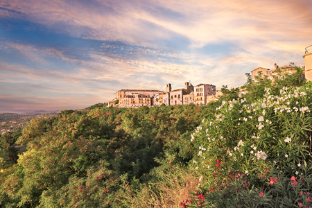 abruzzo: landscape of the old town Vasto in Abruzzo, Italy, under a dramatic cloudy sky at dawn and with oleander flowers in foreground