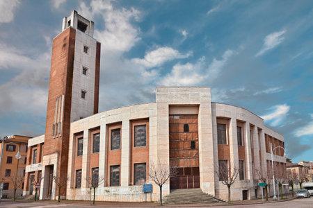 italian architecture: the former Casa del Fascio, was made build by Benito Mussolini in 1934, is a representative building of italian rationalist architecture. March 7, 2013, in Predappio, Italy