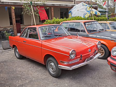 sixties: vintage BMW 700 Coupe Sport of the sixties with roll cage in classic car rally during the feast Villarottainfesta on May 1, 2015 in Villa Rotta, Forli, Italy