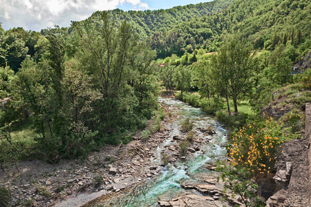 appennino: Firenzuola, province of Florence, Tuscany, Italy: the river Santerno and the forest on Apennine mountains