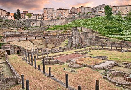 volterra: Volterra, Tuscany, Italy: ancient Roman Theater (1st century BC) - Italian archeology, ruins of an ancient amphitheater