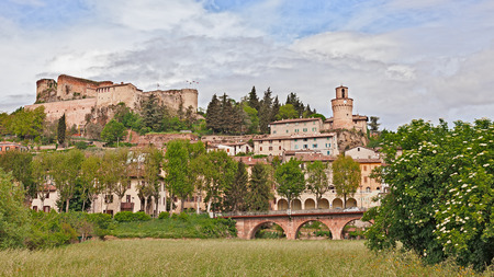 emilia romagna: Castrocaro Terme, Emilia Romagna, Italy: landscape of the ancient spa town with the ancient castle above Stock Photo