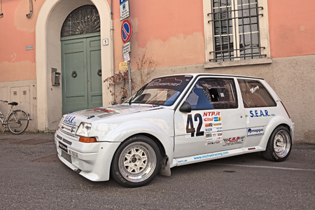 renault 5: vintage rally car Renault 5 GT Turbo exposed during the meeting Trofeo Lorenzo Bandini, dedicated to the great Italian driver of Formula One of the 60s. July 17, 2016 in Brisighella, RA, Italy Editorial