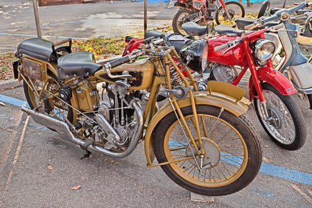cc: FAENZA, ITALY - NOVEMBER 1: old swiss motorbike Motosacoche 500 cc (1930)in classic motorcycle rally during the festival Fiera di San Rocco on November 1, 2015 in Faenza, Italy