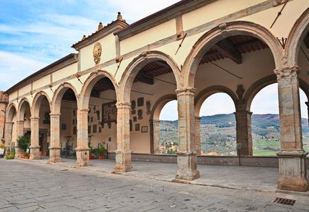 Castiglion Fiorentino, Arezzo, Tuscany, Italy: arch loggia (Logge del Vasari) in Piazza del Comune, overlooking the valley