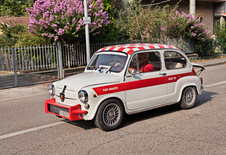 sixties: vintage Italian sports car Fiat Abarth 850 TC Berlina of the sixties derived from the Fiat 600 in classic car rally  Memorial Walter Soprani on September 11, 2016 in Forli, Italy