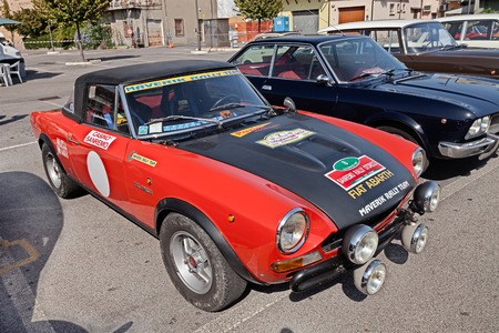 vintage Italian racing car Fiat Abarth 124 Sport Rally of the seventies in classic car rally during the festival Mostrascambio on September 3, 2016 in Gambettola, FC, Italy Editorial