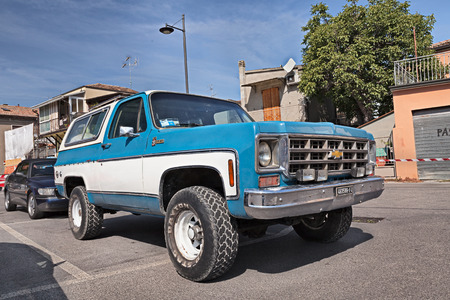 chevrolet: vintage american full size SUV Chevrolet K5 Blazer (1979) in classic car rally during the festival Mostrascambio on September 3, 2016 in Gambettola, FC, Italy