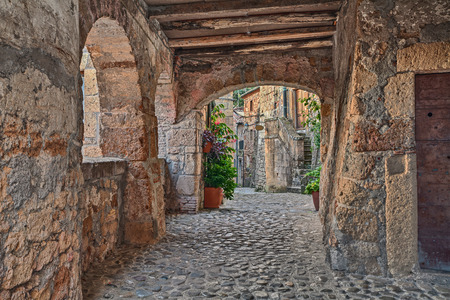 Sorano, Grosseto, Tuscany, Italy: picturesque old narrow alley with underpass, ancient houses, plants and flowers in the medieval village Stock Photo
