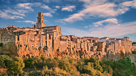 founded: Pitigliano, Grosseto, Tuscany, Italy: landscape in the morning of the medieval village founded in Etruscan time on the tuff hill