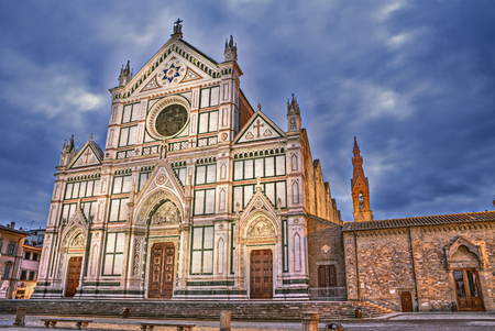 illustrious: Florence, Tuscany, Italy: the renaissance Basilica di Santa Croce (Basilica of the Holy Cross), the Franciscan church known also as the Temple of the Italian Glories because it is the burial place of some of the most illustrious Italians Stock Photo