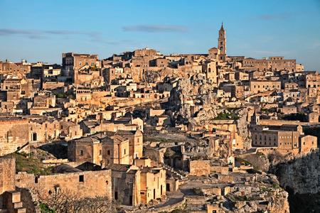 european culture: Matera, Basilicata, Italy: landscape at sunrise of the old town (sassi di Matera), European Capital of Culture 2019 Stock Photo