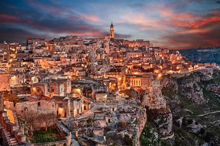 european culture: Matera, Basilicata, Italy: landscape at dawn of the old town (sassi di Matera), European Capital of Culture 2019