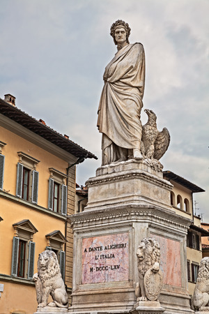 Florence, Tuscany, Italy: statue of italian poet Dante Alighieri in Santa Croce square