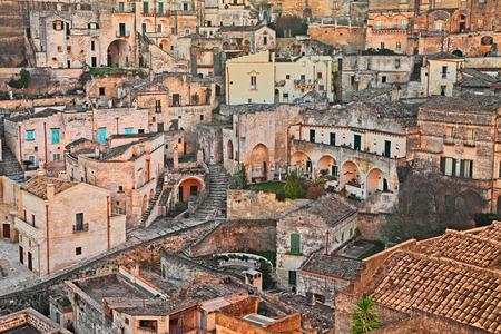 european culture: Matera, Basilicata, Italy: cityscape at sunrise of the picturesque old town (sassi di Matera), European Capital of Culture 2019 Stock Photo