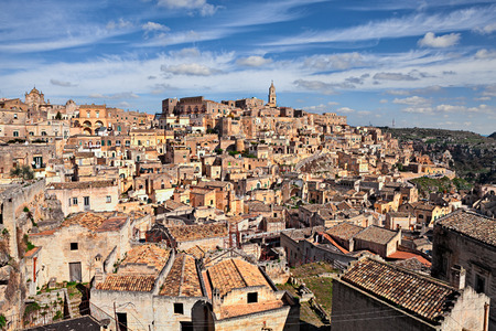 european culture: Matera, Basilicata, Italy: view at sunrise of the picturesque old town sassi di Matera, European Capital of Culture 2019 Stock Photo