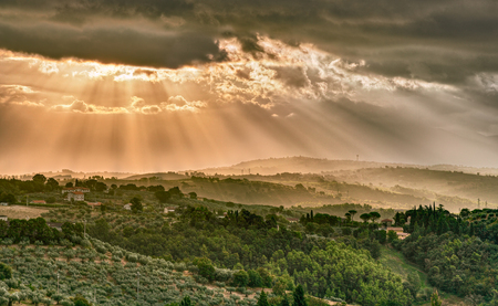 Gualdo Cattaneo, Perugia, Umbria, Italy: landscape at morning of the countryside under a dramatic cloudy sky Stock Photo