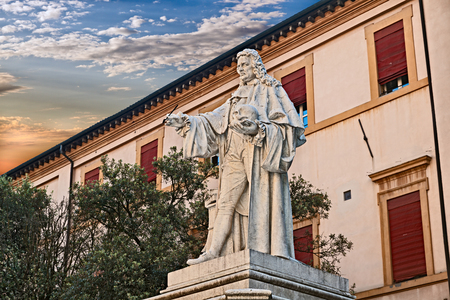 Forli, Emilia Romagna, Italy: ancient statue of the famous doctor anatomist and pathologist Giovanni Battista Morgagni (1682 – 1771), regarded as the father of modern anatomical pathology Stock Photo