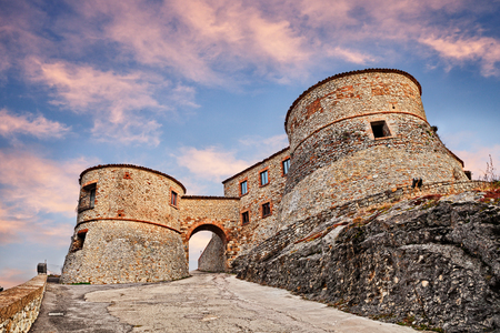 Torriana, Rimini, Emilia Romagna, Italy: entrance to the ancient italian castle, medieval fortress on the hill