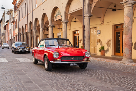 Vintage Fiat 124 Sport Spider in classic car rally -Citta di Meldola- on October 10, 2017 in Meldola FC, Italy