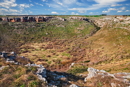 Altamura: Bari, Puglia, Italy: the sinkhole called Pulo, a large depression caused by the collapse of a karst cave, in the Alta Murgia National Park