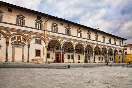 Florence, Tuscany, Italy: The square of Santissima Annunziata whit the ancient palace Loggia dei Servi di Maria.