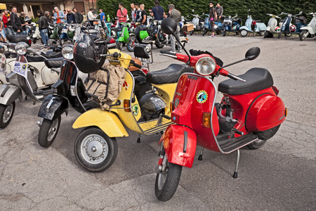 Forlimpopoli, FC, Italy - June 19, 2016: classic scooters Vespa parked during the italian scooter rally Raduno Vespa e Lambretta