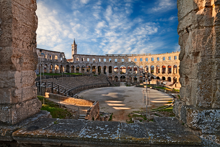 Pula, Istria, Croatia: the ancient Roman Arena, a 1st-century amphitheatre, one of the best preserved of antiquity