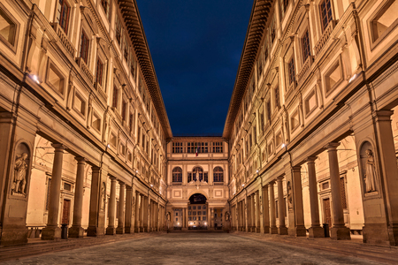 Florence, Tuscany, Italy - February 23, 2017: the outside of the Uffizi Gallery (Italian: Galleria degli Uffizi), famous art museum which holds a collection of priceless works, especially from the Renaissance period