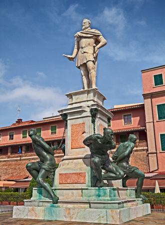 Livorno, Tuscany, Italy: the ancient Monument of the Four Moors, sculpture dedicated to Ferdinando I de Medici and represents the victory over the Ottomans pirates