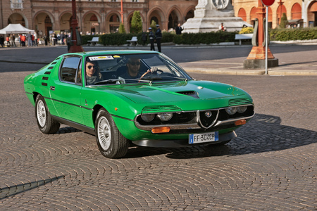 vintage Alfa Romeo Montreal (1972) running in classic car rally XIII Coppa Romagna on September 30, 2018 in Forli, Italy