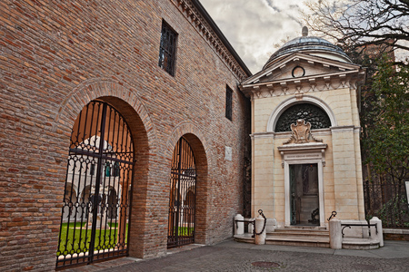 Ravenna, Italy: tomb of Dante Alighieri, the famous Italian poet and writer