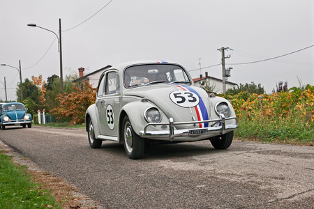 vintage Volkswagen Type 1 Beetle Herbie of the sixties in classic car rally Battesimo dell'aria, on november 4, 2018 in Lugo, RA, Italy Editorial