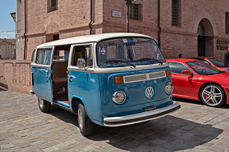Vintage van Volkswagen Transporter Type 2 parked during the rally Rombo e Rock on May 25, 2014 in Montiano, FC, Italy