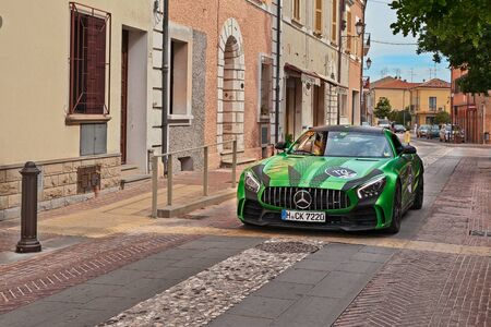 Sports car Mercedes AMG GT R (2017) in rally Mercedes-Benz Mille Miglia Challenge during the historical Italian race Mille Miglia in Gatteo, FC, Italy - May 19, 2017