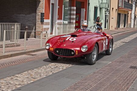 Racing car Ferrari 275S340 America Barchetta by Scaglietti (1950) in historical classic car race Mille Miglia, on May 19, 2017 in Gatteo, FC, Italy