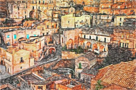 Matera, Basilicata, Italy: painting of the old town of the city European Capital of Culture 2019