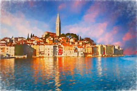 Rovinj, Istria, Croatia: watercolor painting depicting the landscape at sunrise of the ancient town on the coast of the Adriatic sea Imagens