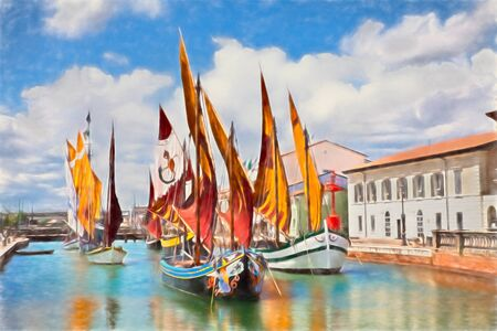 Cesenatico, Emilia Romagna, Italy: watercolor painting of the port canal with the ancient fishing sailing boats of the Adriatic sea Imagens