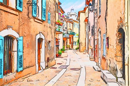 Mons, Var, Provence, France: watercolor painting of an ancient alley in the old town