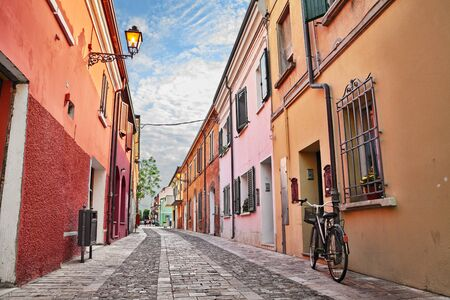 Cesenatico, Emilia-Romagna, Italy: picturesque street in the old town with colorful houses Stock Photo