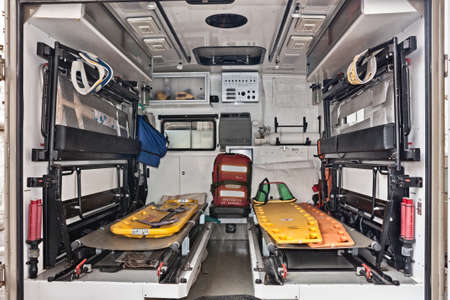 Ambulance interior with stretchers and medical equipment exposed in fair Fiera di San Rocco, on November 6, 2011 in Faenza, RA, Italy
