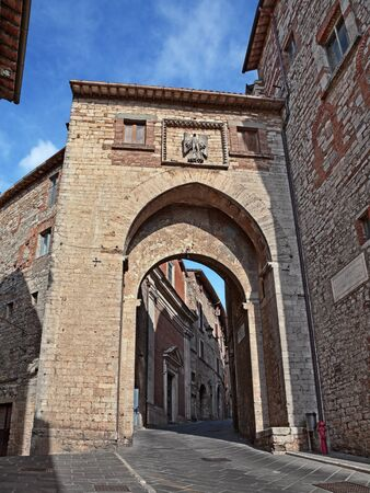 Todi, Perugia, Umbria, Italy: the ancient city gate Porta Catena at the entrance to the medieval town