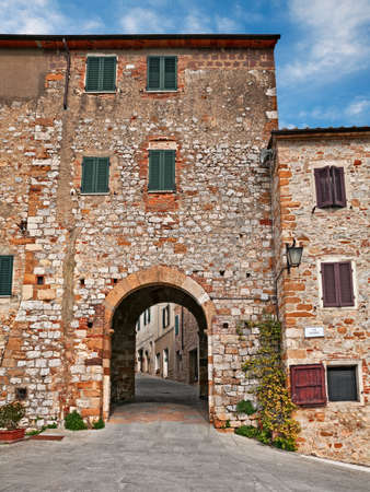 Trequanda, Siena, Tuscany, Italy: old city gate of the ancient village on the border between the Val d'Orcia and the Crete Senesi