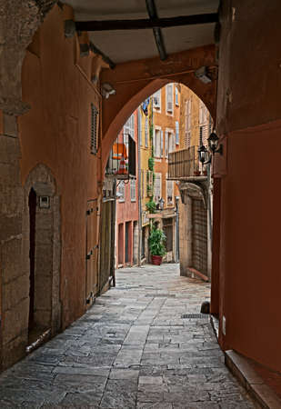 Grasse, Provence-Alpes-Cote d'Azur, France: ancient alley in the old town of the picturesque french city 写真素材