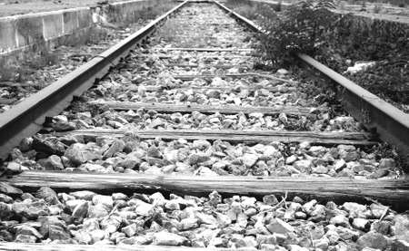 rails of a railroad station abandoned, left to neglect and destruction Stock Photo