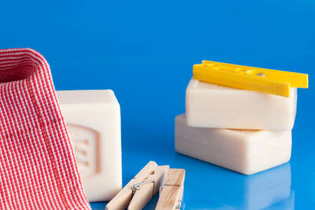 barrettes: soap, clothes and laundry Stock Photo