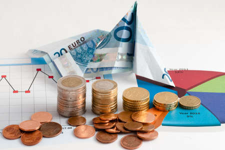 financial performance: banknotes taking flight in view financial performance Stock Photo