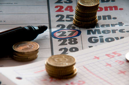 household money: Symbolically, the twenty-seven is the payday and accounts Stock Photo